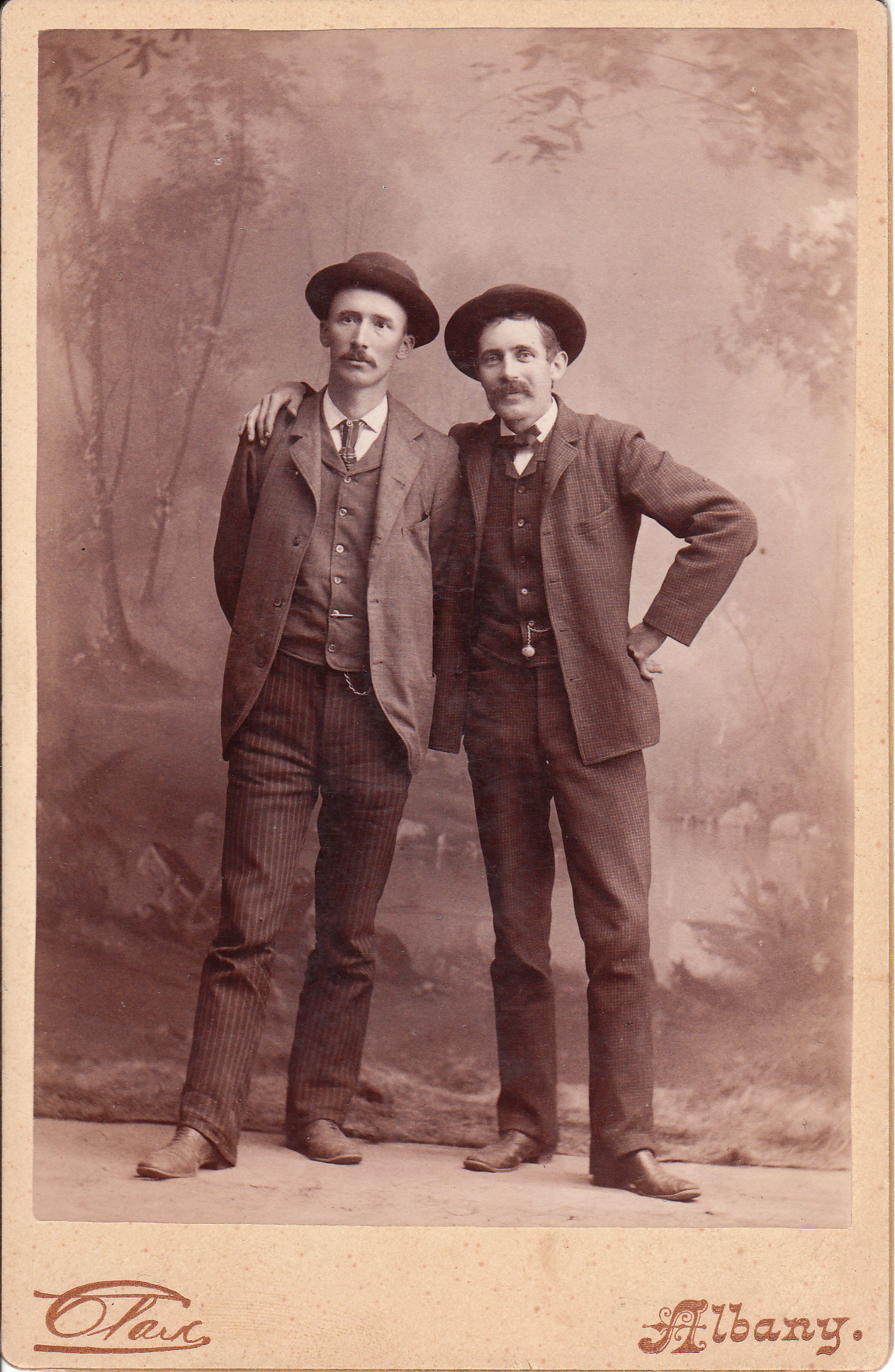 Two men pose together at the Clark studio in Albany.
