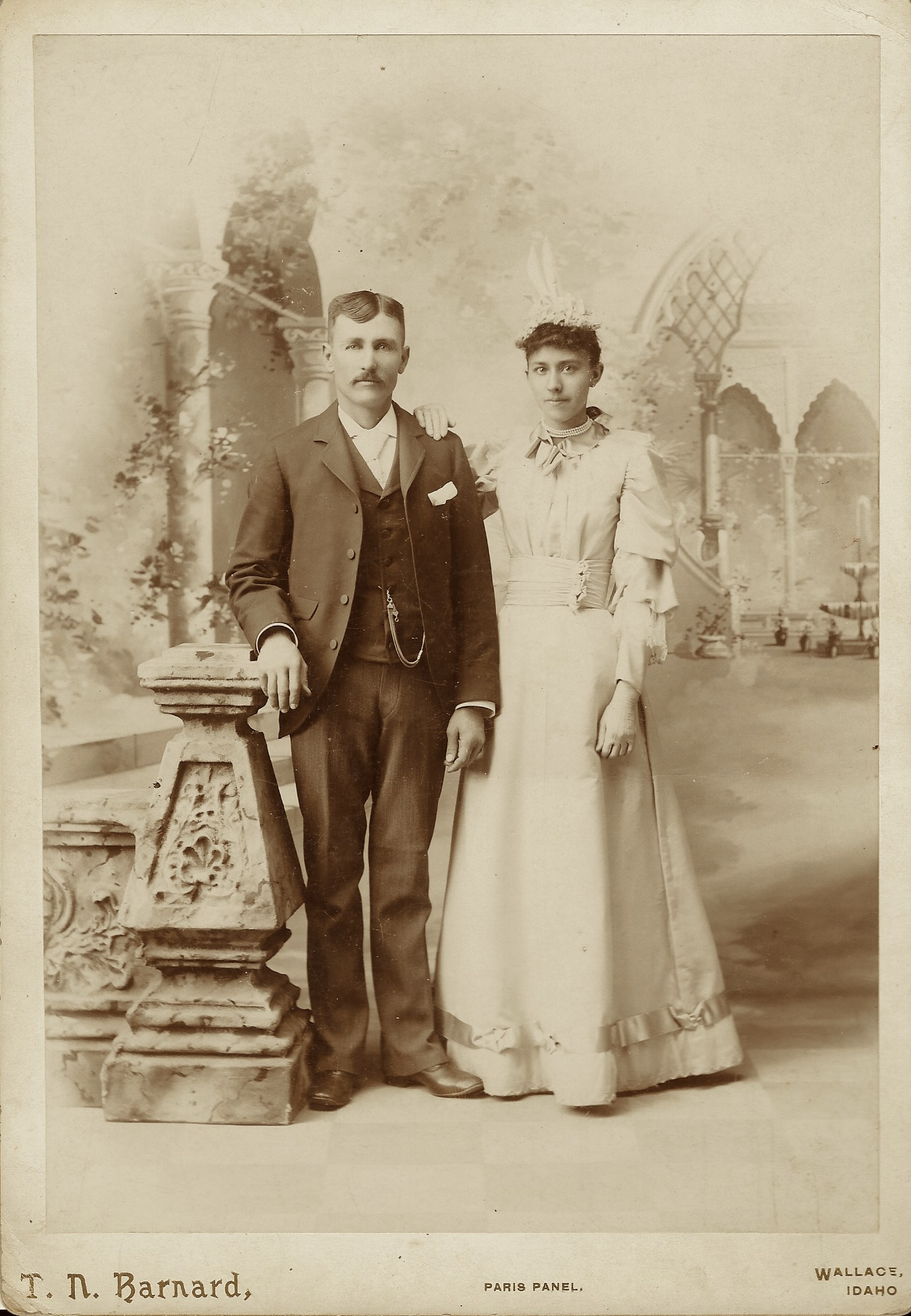 This Cabinet Card Portrait Features A Bride And Groom Posing For Their  Wedding Picture At The Studio Of T. N. Barnard Of Wallace, Idaho.