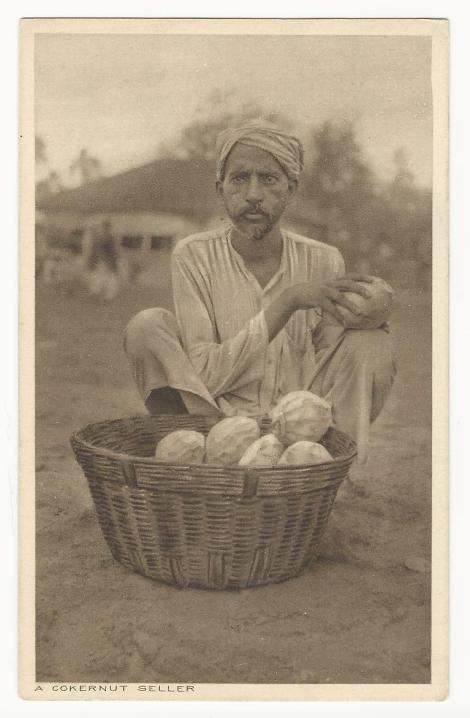 This Vintage Real Photo Postcard Features An Indian Man Selling Coconuts Out Of A Basket At Market In India He Is Holding Coconut On His Knee While
