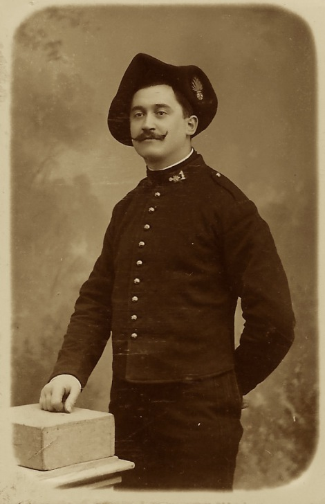 This Carte De Visite Portrait Captures A Uniformed Soldier With Handlebar Mustache The Photographer Of Cdv Image Is Leon Studio In Grenoble