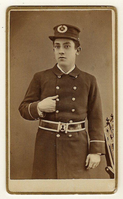 A Uniformed Young Man Poses For His Portrait At Glens Falls New York Photography Studio The Photographers Operating Were Conkey George W