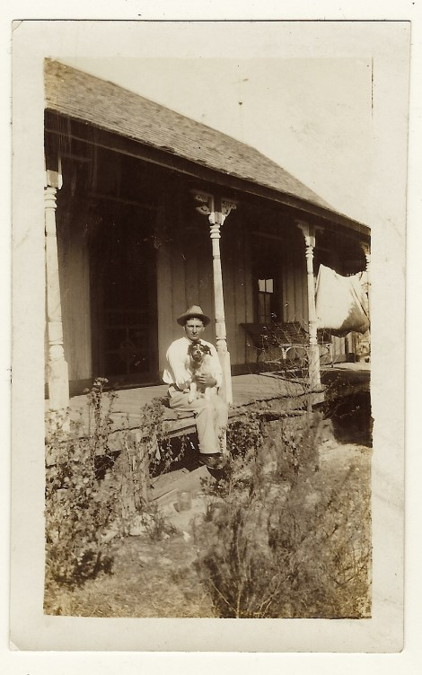 man on porch